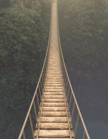 밧줄 다리 산 사이 중단입니다. 이것은 3d 렌더링 그림.
