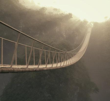 木の上のロープの橋。これは 3 d レンダリング図です。