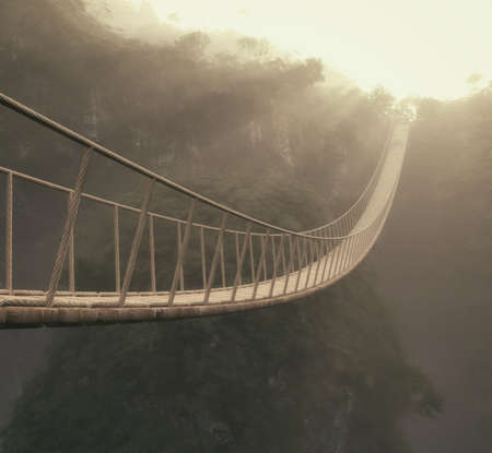 A rope bridge over a trees. This is a 3d render illustration