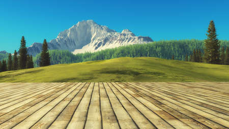 View from a wooden terrace with mountain scenery. This is a 3d render illustration Stock Photo