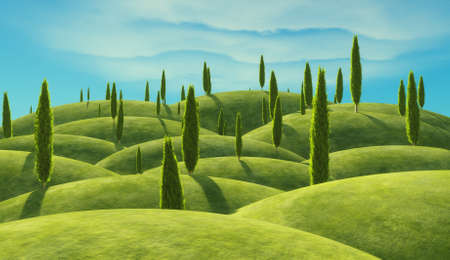 Green cypress trees on the hills. This is a 3d render illustration