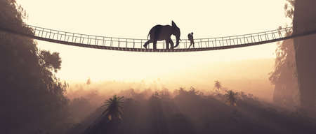 Man and an elephant crossing over a rope bridge suspended between mountains. This is a 3d render illustration.