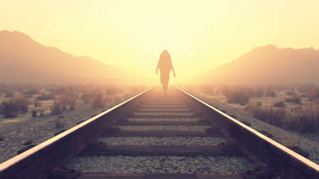 Young man walking on railroad. This is a 3d render illustration Imagens