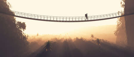 Man rope passing over a bridge suspended between mountains. This is a 3d render illustration. Archivio Fotografico
