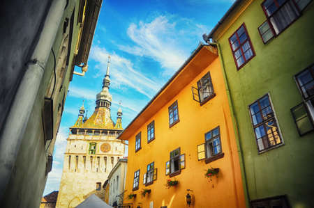 View to the clock tower in the Fortress Sighisoara in Romania, Transylvania