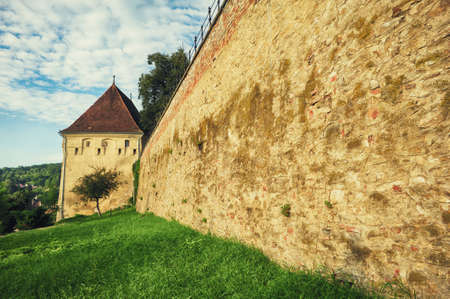 View from the outside with the wall of the Sighisoara fortress,  Romania, Transylvania