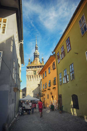 Clock Tower of Historic Centre of Sighisoara in Romania - A UNESCO World Heritage Site, Transylvania, Stok Fotoğraf - 82907509