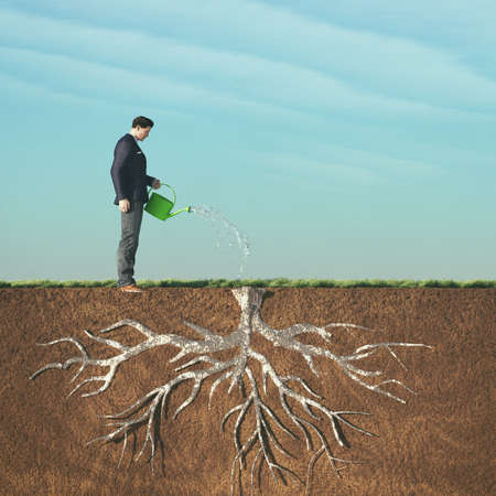 Man watering with watering a dried root.This is a 3d render illustration.