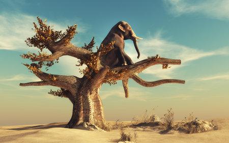 Éléphant dans un arbre sec dans un paysage surréaliste. Ceci est une illustration de rendu 3D