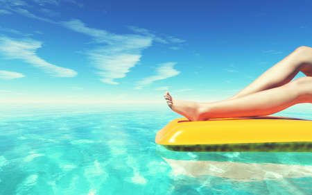 Well-groomed feet in the pool on magenta inflatable mattress for swimming. This is a 3d render illustration