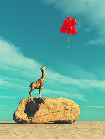大きな岩と赤い風船飛行にキリン立っています。これは 3 d レンダリング図です。