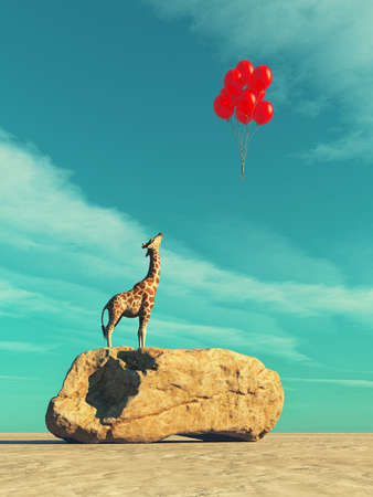 A giraffe standing on a large rock and red balloons flying. This is a 3d render illustration