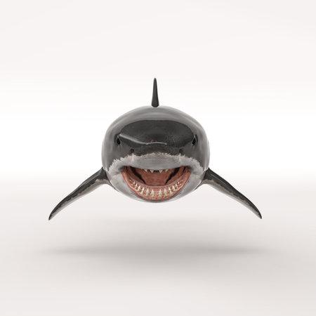 White shark on white background. This is a 3d render illustration Foto de archivo