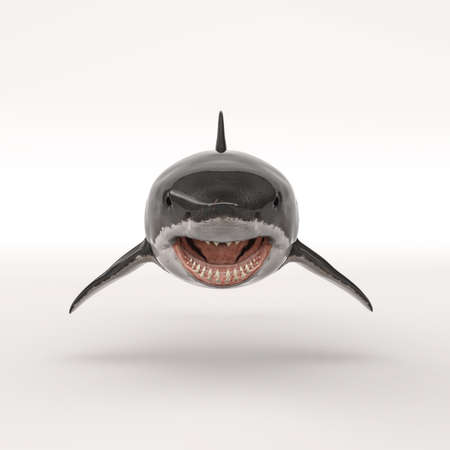 White shark on white background. This is a 3d render illustration Banco de Imagens