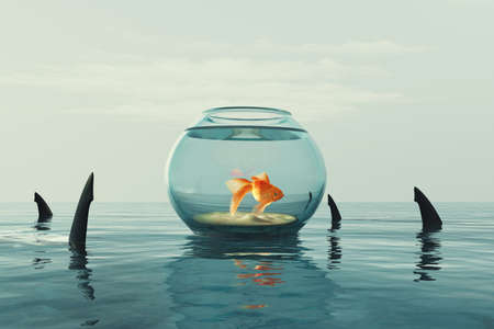 Goldfish in an aquarium surrounded by sharks. This is a 3d render illustration