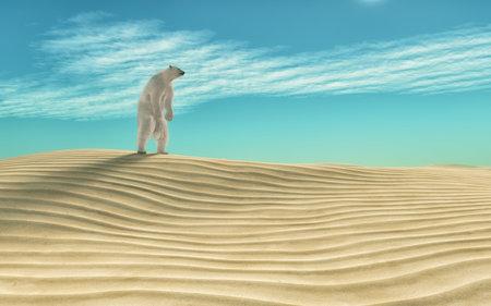 Polar bear in the desert.  This is a 3d render illustration