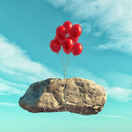 Red balloons lift a big stone - conceptual image. This is a 3d render illustration
