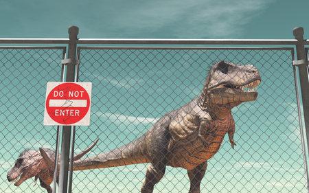 ワイヤー フェンス保護と恐竜。 入力しないでください。これは 3 d レンダリング図です。