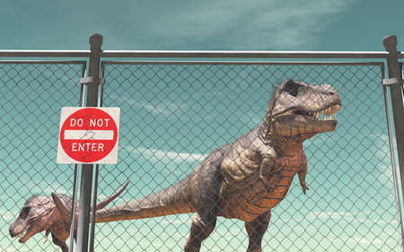Wire fence protection and dinosaurs.  Do not enter. This is a 3d render illustration Stock Photo