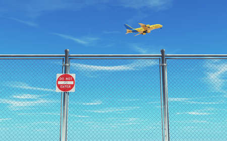 Restricted area fence and airplane flying blue sky background.3d render illustration Stok Fotoğraf