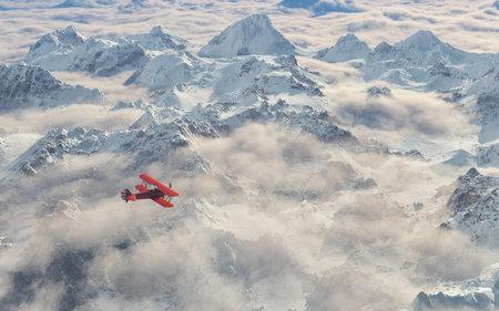 항공기는 눈 덮인 산맥 위로 날아갑니다. 이 그림은 3d 렌더링
