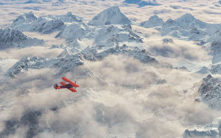 Aircraft flies over a snowy mountain range. This is a 3d render illustration Stock Photo