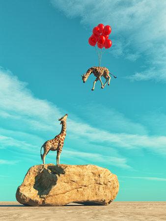 Una jirafa que se coloca en una roca grande y globos rojos que vuelan con la jirafa del bebé. Esta es una ilustración de render 3d Foto de archivo - 83532871