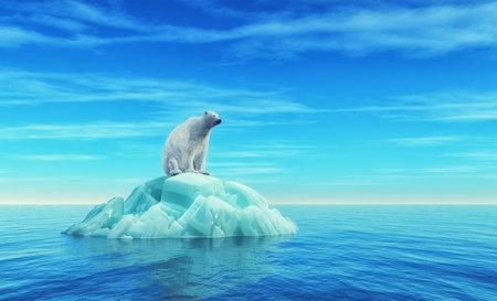 Een ijsbeer zit op een ijsberg in het midden van de oceaan. Dit is een 3d render illustratie Stockfoto