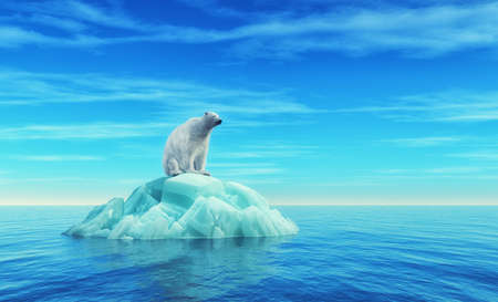 A polar bear sits on an iceberg in the middle of the ocean. This is a 3d render illustration