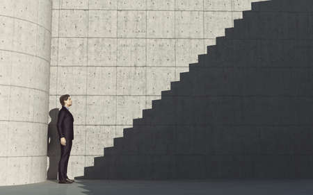 Young man in front of stairs to success 3d render illustration.