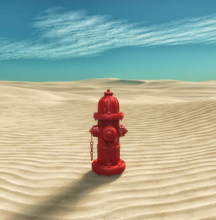 Fire hydrant in the desert 3d render illustration Imagens