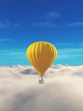 青い空に黄色、熱気球の男。 これは 3 d レンダリング図です。