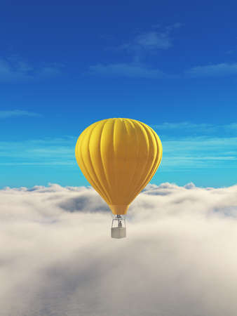 Man in a hot air balloon yellow on a blue sky.  This is a 3d render illustration