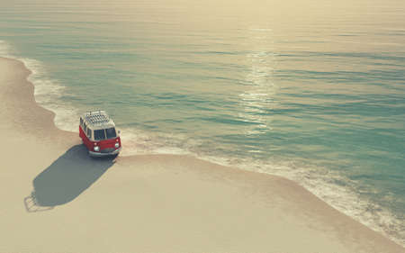 A red car on the sandy beach. This is a 3d render illustration. The car is a generic model. Stockfoto