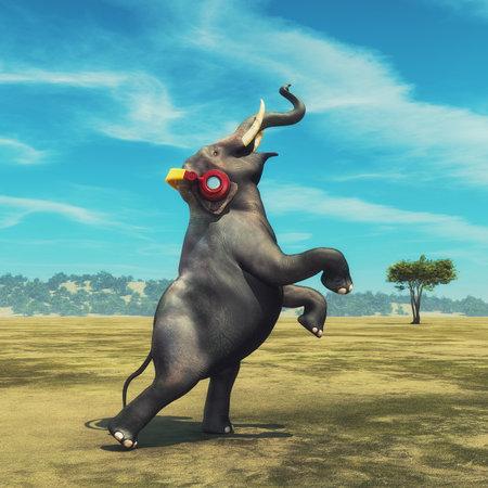 フィールド上で踊ってヘッドフォンで象。これは 3 d レンダリング図です。 写真素材