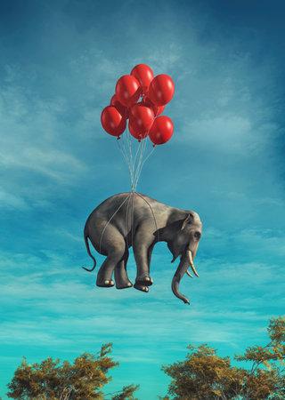 赤い風船を空飛ぶ象のイメージが関連付けられています。これは 3 d レンダリング図です。