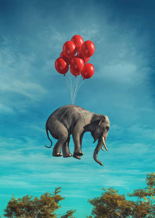 Conceptual image of an elephant flying red balloons tied. This is a 3d render illustration Banque d'images