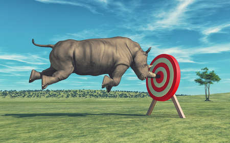 Rhino that aims to target. This is a 3d render illustration 免版税图像