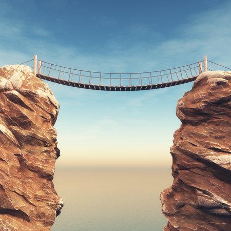 Stary most nad dwoma wielkimi skałami. To jest 3d renderowania ilustracji Zdjęcie Seryjne