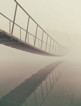 Brücke altes Holz über Wasser . Dies ist eine 3d render Standard-Bild - 84546059