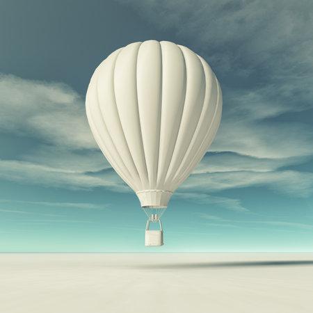 흰색 뜨거운 공기 풍선 비행입니다. 이 그림은 3d 렌더링 스톡 콘텐츠