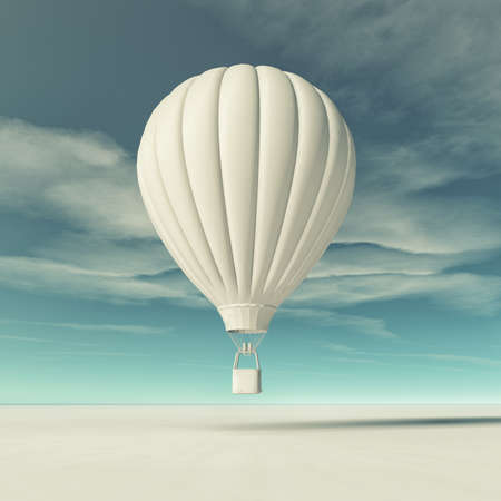 White hot air balloon flying. This is a 3d render illustration