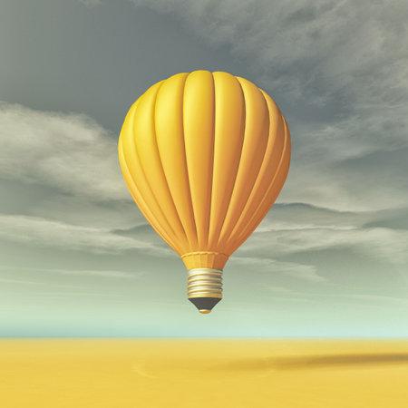 뜨거운 공기 풍선의 형태로 노란색 전구와 개념적 이미지. 이 그림은 3d 렌더링
