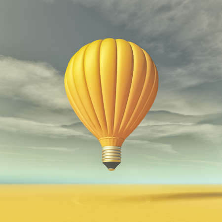 Conceptual image with a yellow light bulb in the form of hot air balloon. This is a 3d render illustration