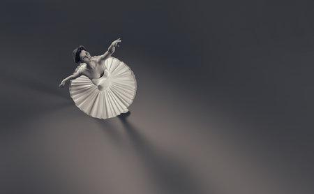 若くて白いチュチュで美しいバレリーナ。これは、3 d レンダリング図です。