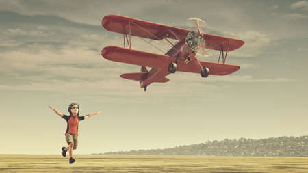 Child with helmet and glasses running track after a plane. This is a 3d render illustration Imagens
