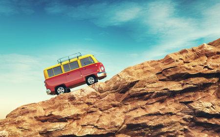 Rotes Auto den Berg hinauf. Dies ist ein 3D-Render-Illustration