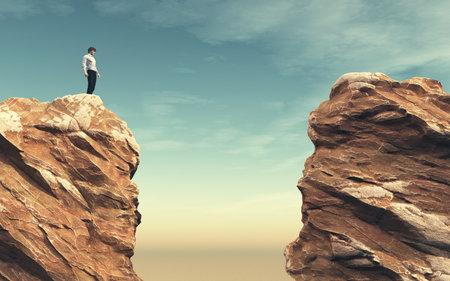 Jeune homme sur un rocher devant un gouffre. Il s'agit d'une illustration de rendu 3D Banque d'images