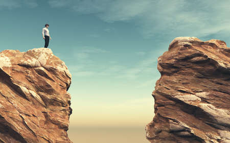 Young man on a rock in front of a chasm. This is a 3d render illustration