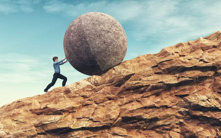 Business man pushing large stone up to mountain.  Success concept. This is a 3d render illustration